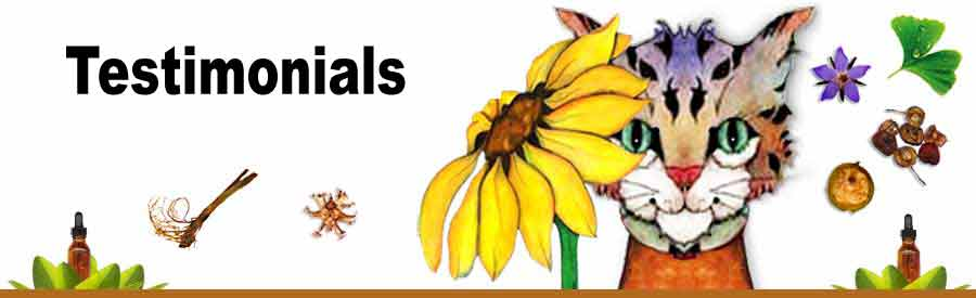 Client testimonials for the home Treatment Charts for dogs, cats, horses, pet birds, pet rats and backyard chickens.